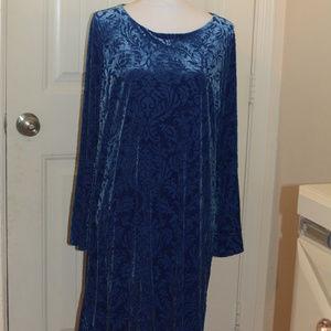 ECI New York Blue Velvet Textured Dress Large